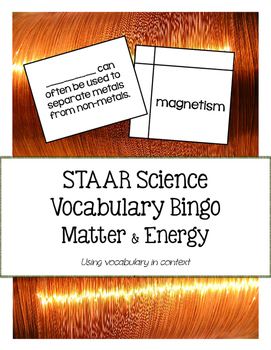 STAAR Science Vocabulary Bingo: Matter & Energy TEKS