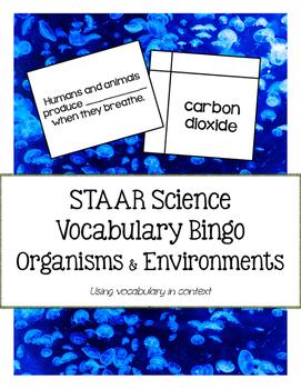 STAAR Science Vocabulary Bingo: Organisms & Environments TEKS