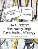 STAAR Science Vocabulary Bingo: Force, Motion, & Energy TEKS