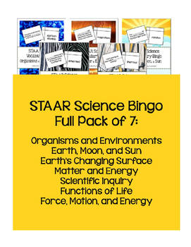 STAAR Science Vocabulary Bingo: Full Pack 5th TEKS