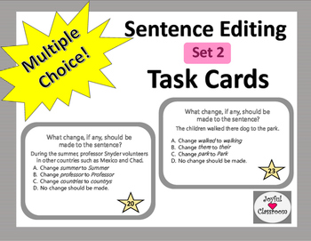 Sentence Editing Task Cards Set 2