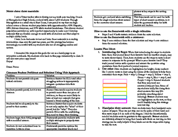 STAAR Short Answer Questions: Intensive Scaffolding