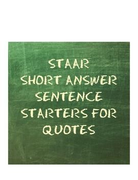 STAAR Short Answer Sentence Starters for Quotes