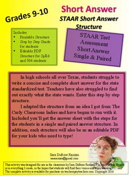 STAAR Short Answer Structure for English i & II EOC