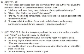 STAAR Short Story Practice - Eng 1 or 2 With Original Short Story