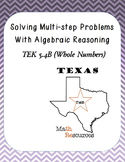 STAAR 5th grade math Solving Multi-Step Word Problems-Algebraic Reasoning