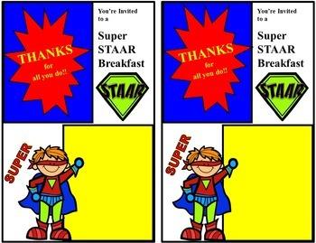 STAAR Standardized Test Staff Appreciation Celebration Packet Superhero Theme