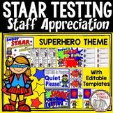 STAAR Testing Staff Appreciation Celebration Packet Superhero Theme   Test Prep