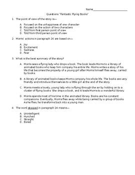 STAAR Stem Questions 4th Grade Fantastic Flying Books of Mr. Morris Lessmore