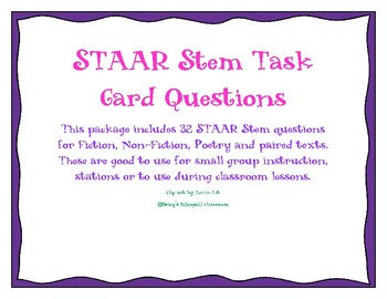 STAAR Stem Task Card Questions