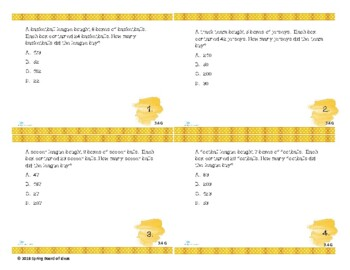 STAAR Styled Third Grade Basic Operations Task Cards