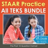 6th Grade TEKS Math BUNDLE {STAAR TEST PRACTICE} 20 Assessments - 200 Questions