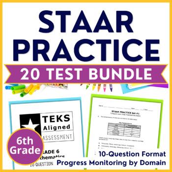 6th Grade Math STAAR BUNDLE ~ 20 Assessments - 200 Questions TEKS Aligned