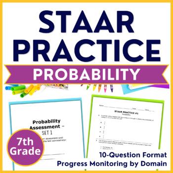 Grade 7 Math STAAR Test Practice {Probability} Pre-Post Te