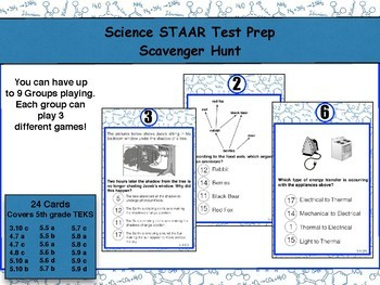 Science STAAR Test Prep: 5th grade Scavenger Hunt (Version 2)