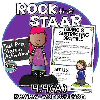 STAAR Test Prep Station Review Activity TEKS 4.4A Adding & Subtracting Decimals