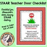 STAAR Testing Door Sign Checklist for STAAR TESTING Counselors Administrators
