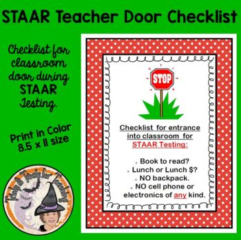 STAAR Testing Door Sign Checklist for STAAR TESTING