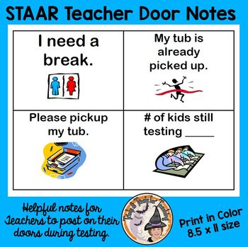 STAAR Testing Teacher Notes to Post on Classroom Door STAAR Test Prep
