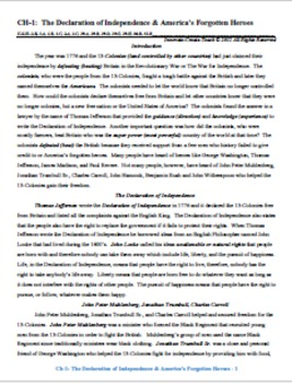 U.S. History STAAR Reader Ch-1: The Declaration of Independence