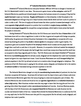 U.S. History STAAR Reader Ch-3: The Industrial Revolution