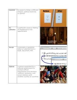 STAAR Vocabulary 3 Way Match