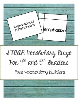 STAAR Vocabulary Bingo for Fourth and Fifth