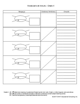 STAAR Vocabulary Organizer 4th Grade Spanish