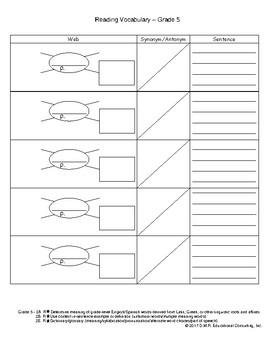 STAAR Vocabulary Organizer 5th Grade English