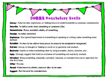 STAAR Vocabulary Packet (Pink & Blue)