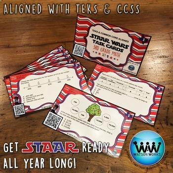 STAR READY 3rd Grade Math Task Cards ~ SET 1 ~ QR Code Version {TEKS-aligned}