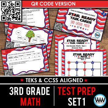 STAAR WARS 3rd Grade Math Task Cards ~ SET 1 ~ QR Code Version