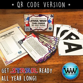 STAR READY 3rd Grade Reading Task Cards ~ SET 1 ~ QR Code Version {TEKS-aligned}