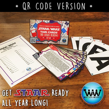 STAR READY 3rd Grade Reading Task Cards ~ SET 2 ~ QR Code Version {TEKS-aligned}