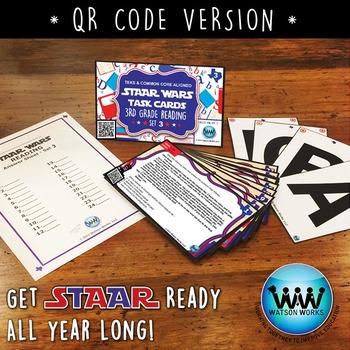 STAR READY 3rd Grade Reading Task Cards ~ SET 3 ~ QR Code Version {TEKS-aligned}