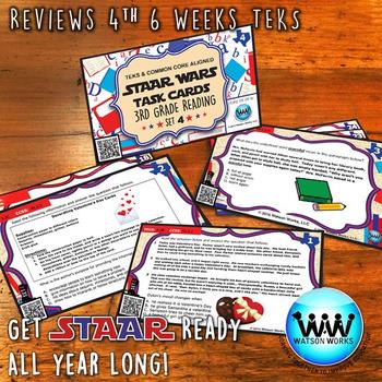 STAR READY 3rd Grade Reading Task Cards ~ SET 4 ~ QR Code Version {TEKS-aligned}