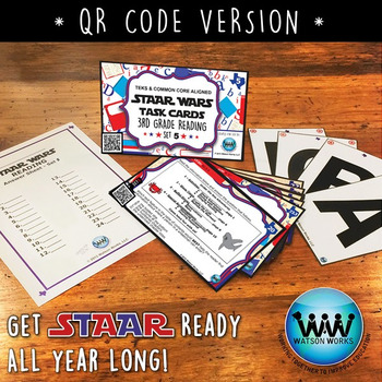 STAR READY 3rd Grade Reading Task Cards ~ SET 5 ~ QR Code Version {TEKS-aligned}