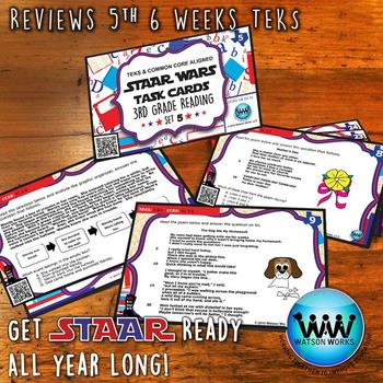 STAR READY 3rd Grade Reading Task Cards ~ SET 5 ~ QR Code Version {TEKS-aligned}