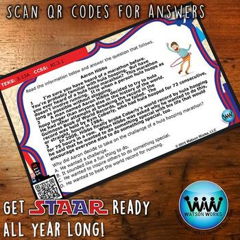 STAR READY 3rd Grade Reading Task Cards ~ SET 6 ~ QR Code Version {TEKS-aligned}