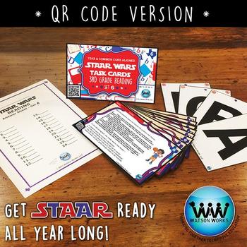 STAAR WARS 3rd Grade Reading Task Cards ~ SET 6 ~ QR Code Version