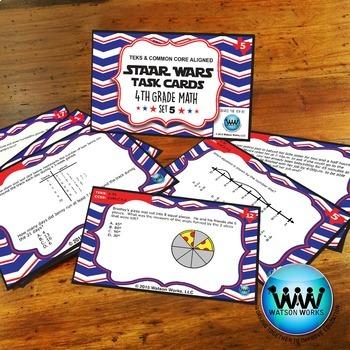 STAR READY 4th Grade Math Task Cards ~ SET 5 {TEKS-aligned}