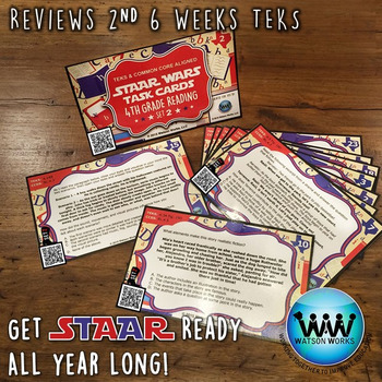 STAR READY 4th Grade Reading Task Cards ~ SET 2 ~ QR Code Version {TEKS-aligned}