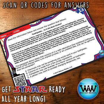STAAR WARS 4th Grade Reading Task Cards ~ SET 3 ~ QR Code Version