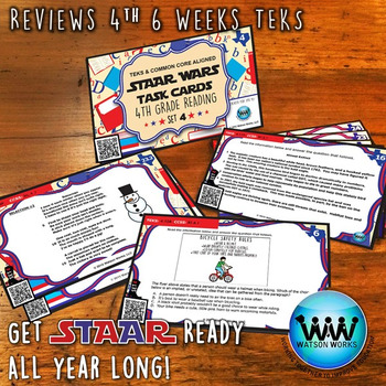 STAAR WARS 4th Grade Reading Task Cards ~ SET 4 ~ QR Code Version