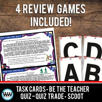 STAR READY 4th Grade Reading Task Cards ~ SET 6 {TEKS-aligned}