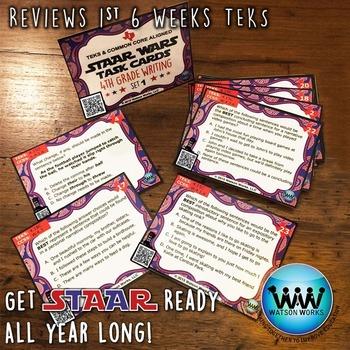 STAAR WARS 4th Grade Writing Task Cards ~ SET 1 ~ QR Code Version