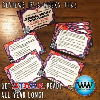 STAR READY 4th Grade Writing Task Cards ~ SET 1 ~ QR Code Version {TEKS-aligned}