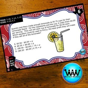 STAR READY 5th Grade Math Task Cards ~ SET 1 {TEKS-aligned}