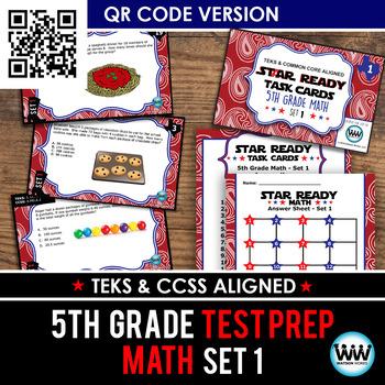 STAR READY 5th Grade Math Task Cards ~ SET 1 ~ QR Code Version {TEKS-aligned}