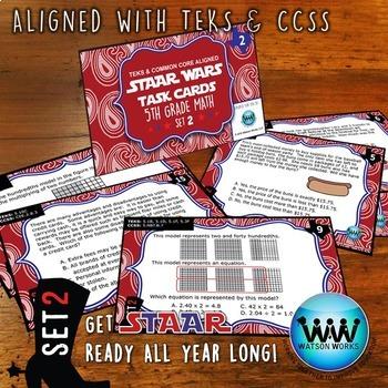 STAR READY 5th Grade Math Task Cards ~ SET 2 {TEKS-aligned}